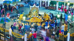 View on Erawan Shrine at night in Bangkok Stock Footage