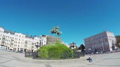 In St Sophia Square in Kiev Stock Footage