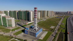 Aerial view of new modern gas boiler house in a residential area the city Arkistovideo