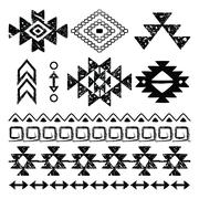 Navajo hand drawn print, retro Aztec pattern, Tribal design Stock Illustration