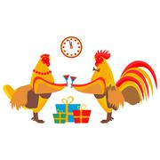 Rooster drinking champagne Stock Illustration