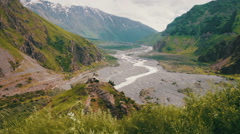 Georgian Mountains and Mountain Stream Landscape Stock Footage