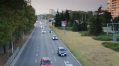 Car traffic on avenue in the city Stock Footage
