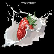 Juicy strawberries on a black Stock Illustration