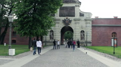 Tourists Exploring Peter's Gate in Peter And Paul Fortress, St Petersburg Stock Footage