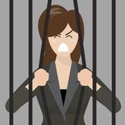 Business woman try to escape from prison Stock Illustration