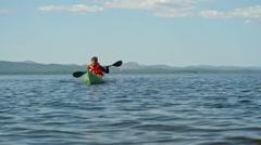 Long Distance Kayaking Stock Footage