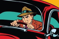 Serious retro man driving a car Stock Illustration