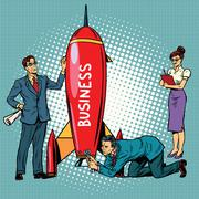Business startup, businessmen and businesswomen launch a rocket Stock Illustration