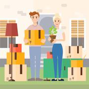 Young couple moving to new house vector illustration Stock Illustration