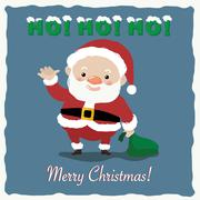 Santa Claus is waving with Marry Christmas Stock Illustration