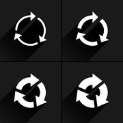 White arrow icon refresh, rotation, repeat sign Stock Illustration