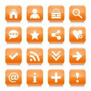 Orange basic sign rounded square icon web button Stock Illustration