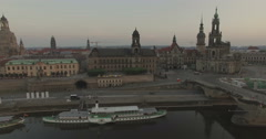 Camera tracks sideways above the river Elbe with Dresden behind. Stock Footage