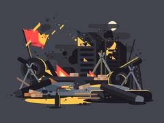 Barricades on fire Stock Illustration