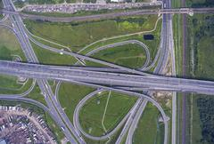Aerial view on road junction Stock Photos