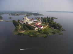 Aerial view on Nilo-Stolobensky monastery on Seliger lake Stock Photos