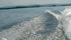 Motor Boat Water Trace on Lake Stock Footage