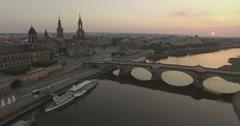 Aerial camera descends over the Elbe River, Dresden Stock Footage