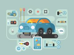 Diagnostics of machines in service station Stock Illustration