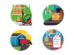 Icons warehouse and logistic Stock Illustration