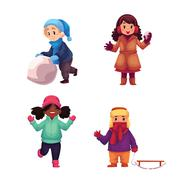Set of kids enjoying winter season, vector illustration Stock Illustration