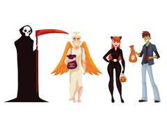 People dresses in death, monster, angel and cat Halloween costumes Stock Illustration