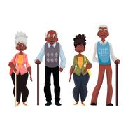 African American old men and woman Stock Illustration