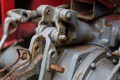 Close up of vintage car hoist mechanism Stock Photos