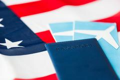 American flag, passport and air tickets Kuvituskuvat
