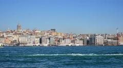 Traffic on the river bosporus Stock Footage