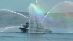 Day of the Navy. Fire boat on the Bay. Stock Footage