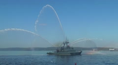 Severomorsk, RUSSIA. Day of the Navy. Fire boat with festive fountains. Stock Footage