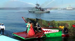 SEVEROMORSK, RUSSIA. Day of the Navy.Boat Neptune was moored to the shore. Stock Footage