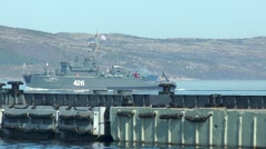 SEVEROMORSK, RUSSIA. Day of the Navy. Floats minesweeper. Stock Footage