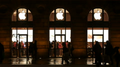 Apple store facade slow motion Stock Footage