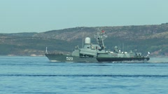 "SEVEROMORSK, RUSSIA. Day of the Navy. Small missile ship ""Rassvet"". Stock Footage"