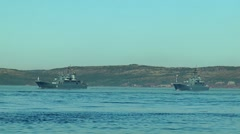 SEVEROMORSK, RUSSIA Day of the Navy. Big landing ships. Stock Footage