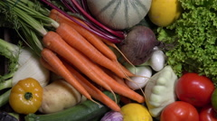 Basket of Fruit and vegetable Stock Footage