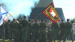 Day of the Navy. Completion of demonstration performance   Marines. Stock Footage