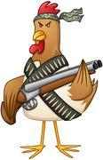Chicken Fighter With A Shotgun Stock Illustration