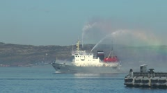 SEVEROMORSK, RUSSIA. The day of naval fleet. Floating fire boat. Stock Footage