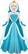 Snow Princess In Blue Dress Cloak And Hood Stock Illustration