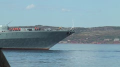 """Severomorsk, RUSSIA. Day of the Navy. Large anti-submarine ship """"Severomorsk"""". Stock Footage"""