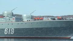 """Day of the Navy. Floats a large anti-submarine ship """"Severomorsk"""". Stock Footage"""