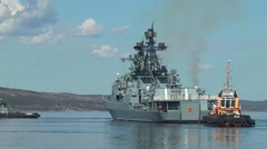 "Day of the Navy. Floating tugs and anti-submarine ship ""Severomorsk"". Stock Footage"