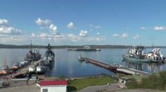 """The ships and the aircraft carrier """"Admiral Kuznetsov"""", zoom. Stock Footage"""