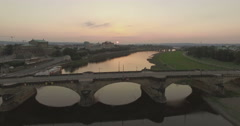 Aerial camera moves forward slowly to Augustusbruke in Dresden Stock Footage