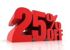 Twenty five percent off sale concept  3d illustration Stock Illustration