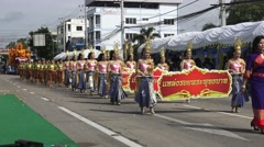 The parade on road of people U-Thong District in Candle Festival. Stock Footage